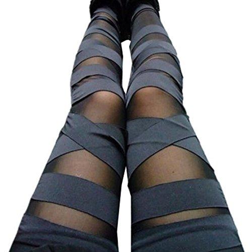 Hibote Damen High Waist Leggings Bandage Jeggings - Frauen Leggins Netz-Optik Gothik Treggings Einfarbig Skinny Hosen Sexy Modern