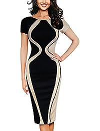 2285e4ac04e7db Damen Kleider Frauen Dress Retro Minikleid Bodycon Etuikleid Knielänge  Formelle Büro Kleid 1/2 Hülse