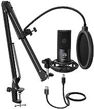 FIFINE Studio Condenser USB Microphone Computer PC Microphone Kit With Adjustable Scissor Arm Stand Shock Moun