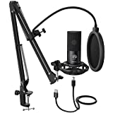 Fifine T669 Condenser USB Microphone Kit with Adjustable Scissor Arm Stand Shock Mount for PC and MAC