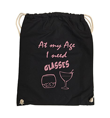 Comedy Bags - At my Age I need GLASSES - Turnbeutel - 37x46cm - Farbe: Schwarz / Silber Schwarz / Rosa