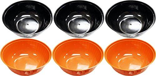 Set von Halloween Servieren Schalen. 30,5cm Durchmesser-Große Schüssel tief-BPA-frei-Perfekt für Candy, Partys, köstlichen Gerichten, Events, und mehr. Halloween L schwarz / orange
