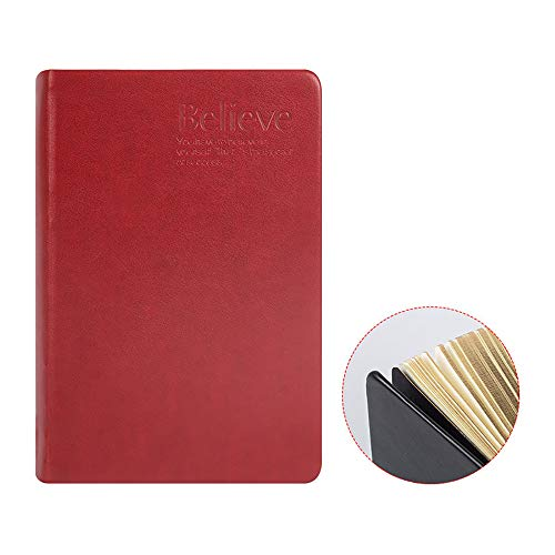 ZUEN Leder-Retro-Notizblock, A5 Classic Lined Journal 300Page Leerseite verdickt Tagebuch-Notizbücher und Tagebücher Aktionstag,Red -
