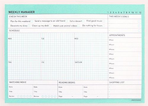 paperian-weekly-manager-undatiert-weekly-schreibunterlage-planer-planer-tropical-mint