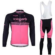 Fastar Ropa de Ciclismo de Otoño Conjunto para Hombre y Mujer - Maillot Jersey de manga larga y Pantalones Largos con Gel