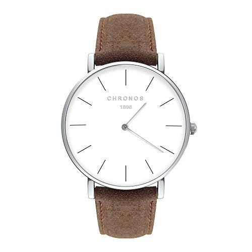 Unisex Uhren Groß Runde Quarzwerk Damenuhren Herrenuhren für Damen und Herren Leder Metall Klassisches, Braun-Silber