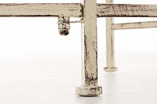 CLP Metall-Gartenbank AMANTI mit Armlehne, Landhaus-Stil, Eisen lackiert, Design antik nostalgisch, Form oval ca. 110 x 55 cm Antik Creme - 8