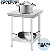 Rosali Mesas para la Preparación de Comida Mesas de Cocina de Acero Inoxidable 60x60x88cm Mesa de Trabajo Tabla Mesa para cocina Bar Restaurante