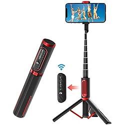 BlitzWolf Perche Selfie Bluetooth, Aluminium Léger Tout en Un Bâton Selfie Trépied avec Télécommande Amovible et Rechargeable, Selfie Stick Extensible pour iPhone, Samsung, Galaxy, Huawei et Plus