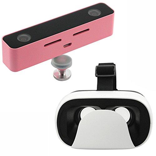 Svpro Fotocamera 3D Doppio Obiettivo VR HD Telecamera con il Caso di Titanio Occhiali 3D per Video di Realtà Virtuale, Supporto Cellulare Android di Samsung Galaxy S5 6 7(Rosa)