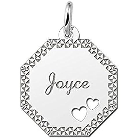 Nome Forever Gourmet collana con pendente da 8rettangolare in argento con incisione del nome e diamantata e 2ausgestanzten cuore