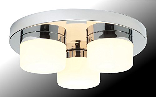 Marco Tielle 3 Light Bathroom Ceiling Light In Chrome Finish With White Glass Shades IP44 Rated