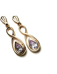 Or 9 carats zircon lilas-Boucles d'oreilles en forme de goutte d'eau