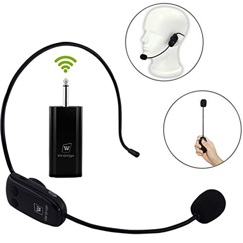 WinBridge UHF Drahtlose Mikrofon Headset Wiederaufladbare Mikrofon Kompatibel mit Stimme Verstärker Audio Sound System Externe Lautsprecher DSLR Kamera etc (WB008 Pro)