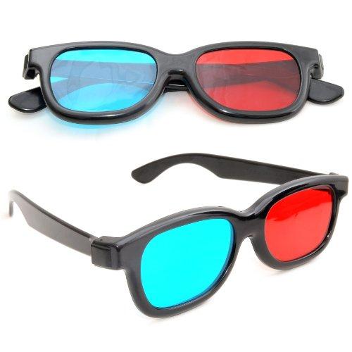 4er SET 3D-Anaglyphenbrille für TV oder PC-Spiele (rot/blau), 3D Brille für Fernseher, 3D-Gläser mit Anaglyphen-Technologie - Marke Ganzoo