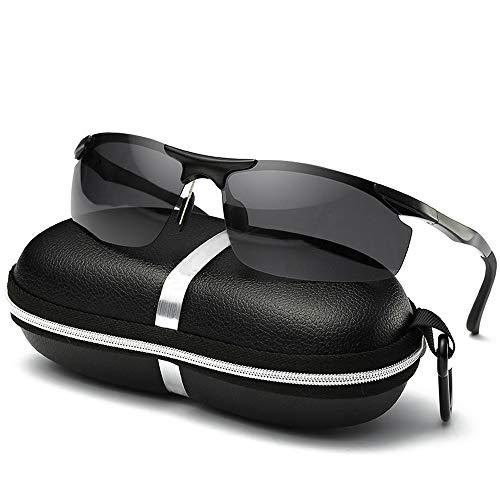 UV400 UV Cut Metallrahmen Sport Sonnenbrille Drive Baseball Fahrrad Angeln Laufen Golf Fahren Unisex Polarisierte Sonnenbrille Sonnenbrillen und flacher Spiegel ( Color : Schwarz , Size : Kostenlos )
