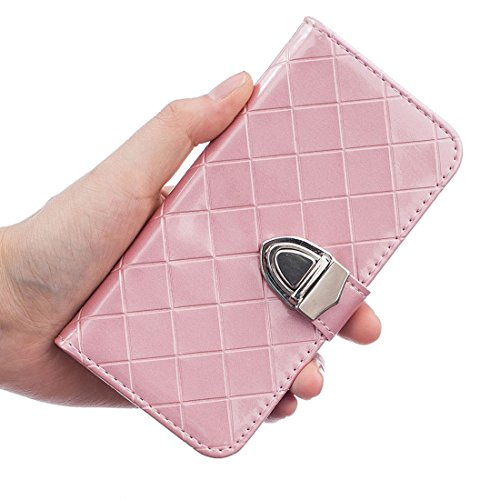 Apple iPhone 6 Plus / 6S Plus 5.5 inch Hülle, iPhone 6S Plus Cover, Metall Magnetisch Knopf Gitter Geprägter Slap-up Mode Brieftasche Schutzhülle Unterstützen Funktion Leder Folie Case rosa