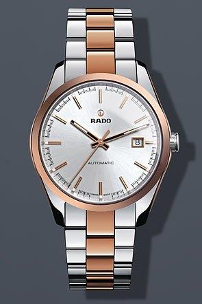 Rado hombre 48mm Rose Gold-tone pulsera de acero y caso automático Silver-tone Dial analógico reloj R32980102