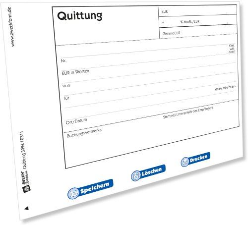Avery Zweckform 302e Quittung mit MwSt.-Ausweis [PDF-Download]