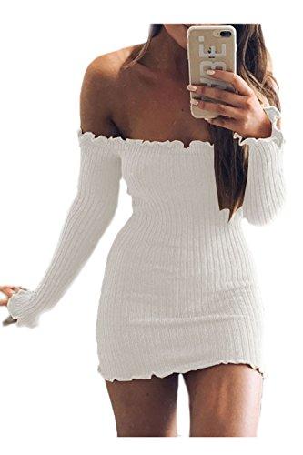 Le Donne Eleganti Dalla Spalla Senza Spalline Autunno A Maniche Lunghe Arruffato Bodycon Vestito White