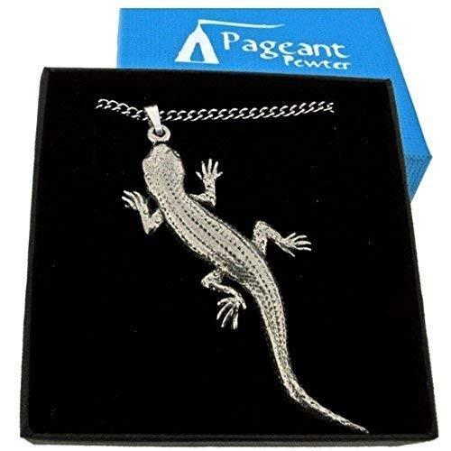 Halskette mit Gecko-Anhänger aus englischem Zinn, feine Qualität, mit ()