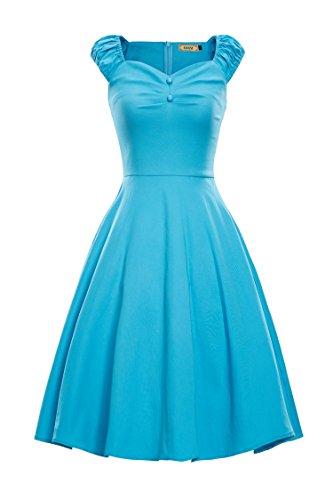 LUOUSE Robe de Soiree cocktail, Bal Style Années 50, Rockabilly, Swing,Vintage 1950's Audrey Hepburn Bleu