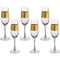 Juego de 6 copas de Prosecco con relieve de 300 ml de hoja de oro Art Deco grabada en relieve