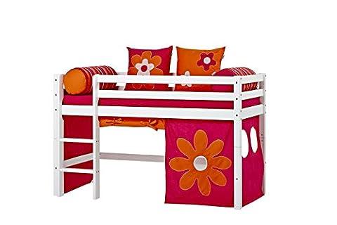 Hoppekids Basic-A4-3 Flower Power Textile und Matratze Halbhoch-/Spiel-/Junior-/Kinder-/Jugendbett, Kiefer massiv, Liegefläche 70 x 160 cm, Holz, weiß, 168 x 81 x 105