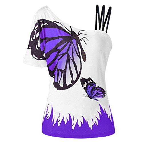 VEMOW Sommer Elegante Damen Große Größe Frauen Schmetterling Druck Oansatz Schwarz T-Shirt Kurzarm Casual Täglichen Party Tops Bluse rückenfrei Pullover