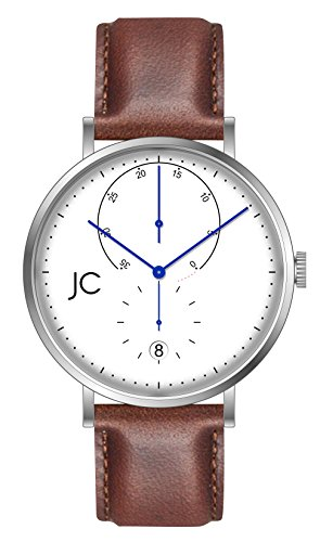 Jean Constantine Herren Automatikuhr - Männer Armbanduhr mit Echtlederband, Ladestatus- und Datum-Anzeige, Weiß-Blau
