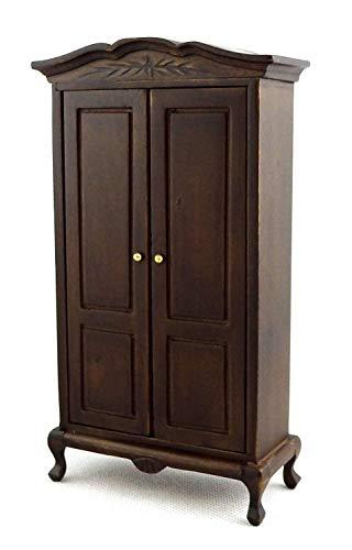 Eiche Dunkel Kleiderschrank (Melody Jane Puppenhaus Eiche Dunkel Queen Anne Kleiderschrank Miniatur Holz 1:12 Schlafzimmermöbel)