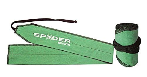 Handgelenkbandage zum Gewichtheben, aus Baumwolle, von SpiderSports - ein Paar, Grün - Green-Black Stitching - Größe: L