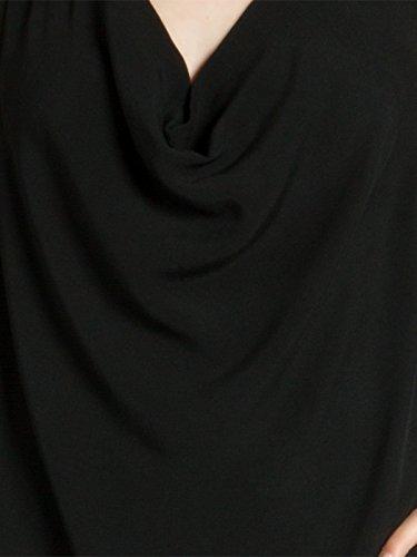 CASPAR BLU016 leichtes elegantes Damen Sommer Top mit Wasserfallkragen Schwarz