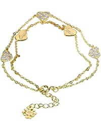fa116fae7e02 Adisaer Plata Damas Pulsera Pulsera Oro Plata Oro Rosa Corazón Dos Cadena  Grabado