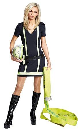 Kostüm Feuerwehrfrau Gr. 34 Kleid mit Gürtel Feuerwehr Uniform Karneval (Sexy Feuerwehr Frau Für Erwachsene Damen Kostüm)