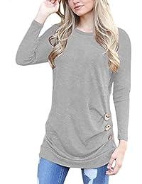 08de1ea7d6 H HIAMIGOS Women Casual Long Sleeve Buttons Decor Crew Neck Tunic Shirts  Loose Blouse Tops