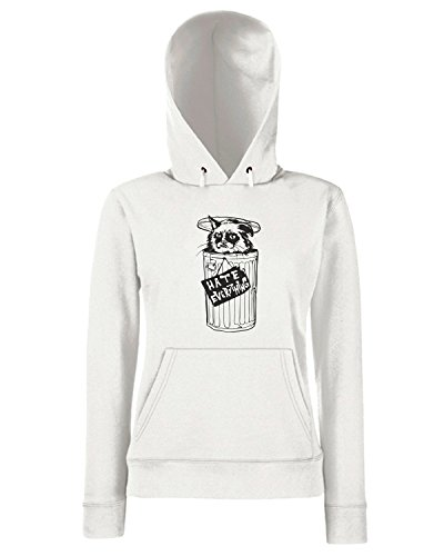 T-Shirtshock - Sweats a capuche Femme FUN0273 11 17 2013 Feline The Grouch T SHIRT det Blanc