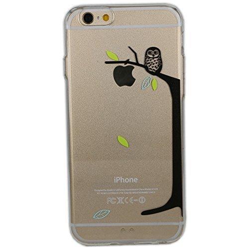 Cover iPhone 5/5S/SE, TrendyBox Cute Case Cover per iPhone 5 5S SE con Vetro Temperato Pellicola Protettiva (Angelo e Coniglio Rosa) Gufo e Apple Albero