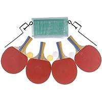 F Fityle 4 Unids Paquete de Raqueta y Bolas para Entrenamiento de Tenis de Mesa de Buen Rebote - Mango Colorido, 250x150x5mm