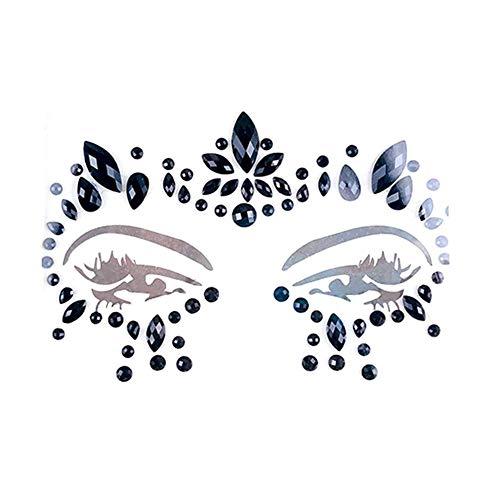 (Gesichts Aufkleber-Face Diamond Sticker umweltfreundliche Harz Crystal Rhinestone Face Sticker Holiday Party Dance Augenbrauen Gesichts Kleber Für Musik-Festival)