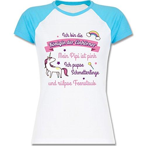 Königin der Einhörner - S - Weiß/Türkis - L195 - zweifarbiges Baseballshirt / Raglan T-Shirt für Damen