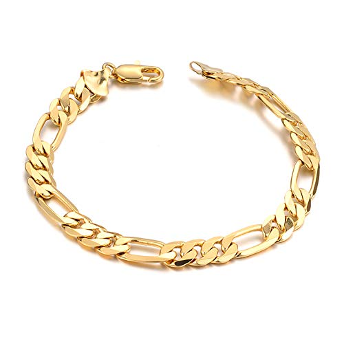 Qinlee Männer Armband Kleine Quaste Dicke Kette Unisex Mode Armbänder Gold 22cm