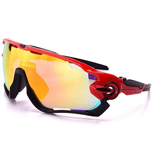 yanzi Sport-Sonnenbrille Outdoor Männer und Frauen reiten Spiegel reflektierende explosionsgeschützte DREI Stücke von polarisiertem Licht,Red