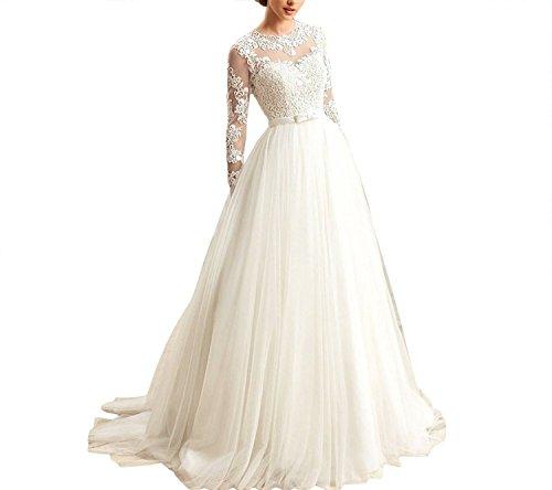 Tianshikeer Hochzeitskleider A Linie Spitze Tüll Damen Langarm Elegant Brautkleider Lang
