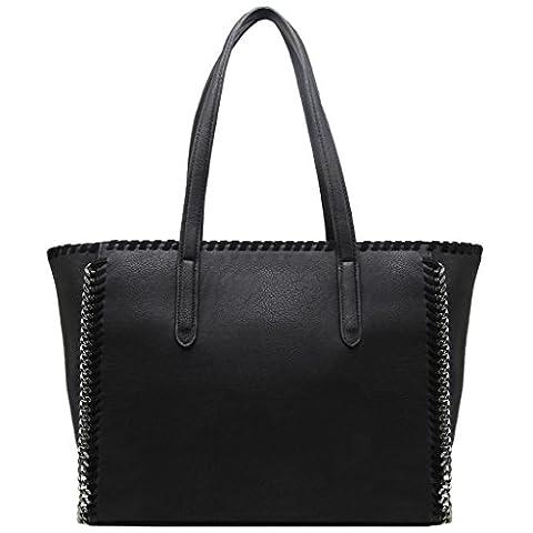 CRAZYCHIC - Grand sac cabas à chaînes et tresses - Noir