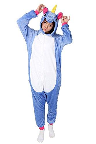 Minetom Einhorn Pyjamas Kostüm Jumpsuit Tier Schlafanzug Erwachsene Unisex Fasching Cosplay Karneval Einhorn Dunkelblau (Homewear Sleepsuit Lounge Kostüm Cosplay Pyjamas Wear)
