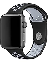 LEEHUR- Apple Watch Armband 42mm, Serie 1/2 Sport Armbanduhr Silikonarmband Ersatzarmband Armband für Apple iWatch / Apple Uhr Nike + (42mm, Gray & Schwarz)