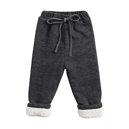 Sanlutoz Hiver Chaleureuse Toison Bébé Filles Les Pantalons Décontractée Plus épais des Gamins Mou Pantalon (12-18 mois/80cm, KPW8108-DGY)