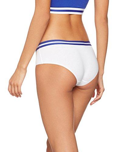 Iris & Lilly Damen Hipster Sporty Cotton 2er Pack Weiß (White/Blue)