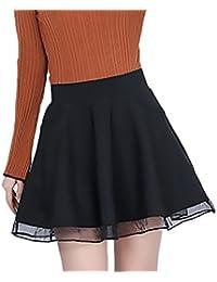 Faldas Mujer Elegantes Vintage Talle Alto Una Línea Color Sólido Hilado  Neto Splicing Basicas Falda Ropa 5ffac3c2395b